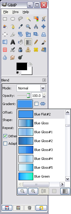 Selecting a gradient in Gimp